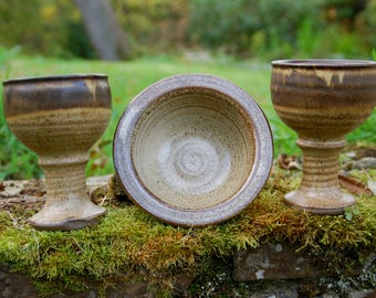 2 Stoneware Chalices / Goblets and Offering Bowl/Vessel- Handfasting - Pagan - Wicca - Ritual - Witchcraft - Solstice