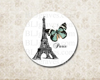 Stickers Envelope Seals Paris Eiffel Tower Butterfly French Wedding Party Favor SP065