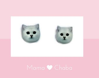 White Persian Cat Earring , cat lover gift, Made in Australia,  Birthday Gift, Stud earrings