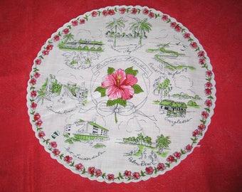 Antique Hanky-Vintage Handkerchief / Florida Souvenir Hanky-1950s Mid Century / Fort Lauderdale/ Palm Beach / Everglades -UNUSED orig label