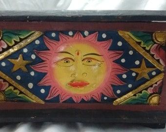 Vintage carved and painted wood box Sunshine face
