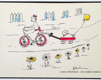 Small ORIGINAL whimsical painting cyclist on bike, 5x7 painting, gift, dog, little red wagon, balloons, watercolor &India ink, bike art