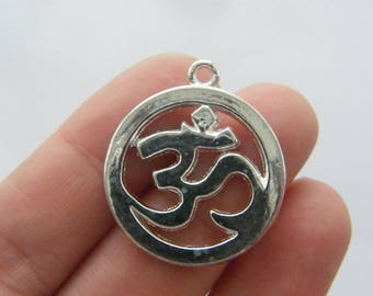 6 Om charms silver plated tone I151