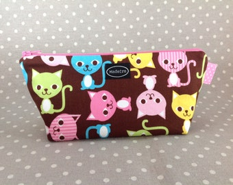 Pink and brown cat zipper pencil bag pencil pouch pencil case cute kitten animal small zippered kawaii bag gift for cat lover