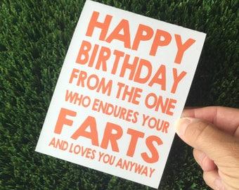 Funny Birthday Card for guy - Funny Birthday card for husband - Funny birthday card for boyfriend - Fart card - funny birthday card for him