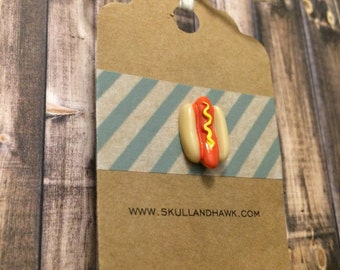 Hot Dog Lapel Pin / Tie Tack - Resin - On a Bun with Mustard - Fake Food