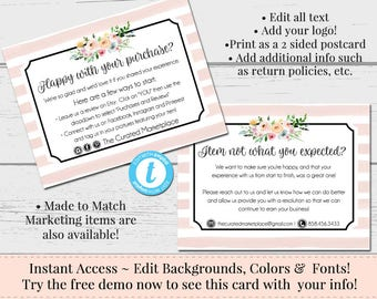 Customer Feedback Card, Thank You Insert, Package Insert, Marketing, Marketing Template, Postcard Template, Instant Download, Editable Form