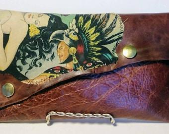 Aztec Love leather wallet