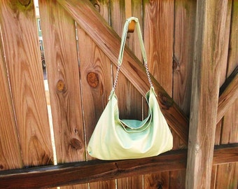 Mint Green Lambskin Leather Hobo Bag