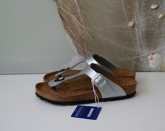 Vintage Silver Birkenstock Thong Sandals Cork Sole Summer Shoes Platform Slides 39/6/8.5