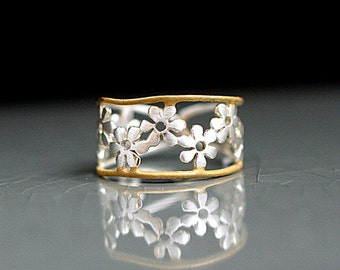 Bicolor Flower Ring. Sterling ring with gold plated trim. Adjustable. Romantic jewelry for her.