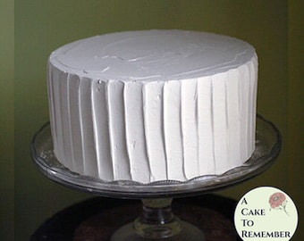 """8"""" round fake cake, vertical ridges icing faux cake for photo shoots and home staging. Wedding cake topper display, food prop. Theater prop"""