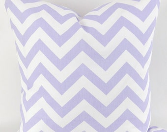 Lavender Zigzag Pillow Cover -MANY SIZES- purple wisteria white chevron -decorative throw euro sham custom cushion modern contemporary 28 22