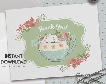 Printable Thank You Card, A2 5.5 X 4.25 Inch,Baby Shower Thank You Card, Baby Shower, Tea Party,Baby Shower Invitation, Printable No. IN1014