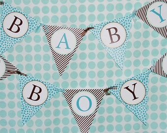Giraffe Baby Shower Printable Baby Boy Banner | Instant Download | Jungle Safari
