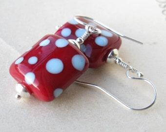 Red And blue Lampwork earrings in sterling silver