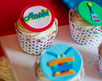 12 music instruments Fondant toppers for cupcakes or cookies