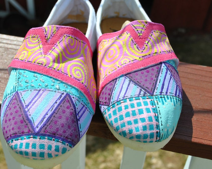 Quilting themed hand painted sneakers size 8 - sold  Note: these are just a sample