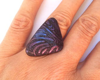 Polymer Clay Ring, Fashion Ring, Modern Ring
