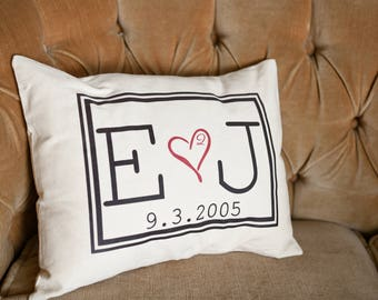 Personalized Cotton anniversary, Romantic couples gift, anniversary, monogram pillow, romantic, trending, 2nd anniversary, Christmas gift