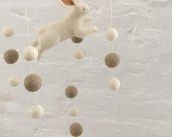 Baby Mobile. Bunny Mobile. Hanging Mobile. Baby Shower Gift. Baby Crib Mobile. Felted Mobile. Nursery Decor. Bunny Themed Nursery.