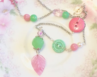 Pink Leaf Necklace, Assemblage Necklace, Aqua Button Necklace, Pastels Necklace, Fairy Woodland Necklace, Handmade By KreatedByKelly
