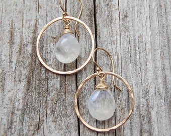 Rainbow Moonstone Teardrops and Hammered Circle Earrings