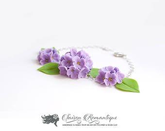 Bracelet Lilac Syringa - Polymer Clay Flowers - Mothers Day Gift for Women Bracelet Lilac Gift For Her Flower Lilac Bracelet Flower