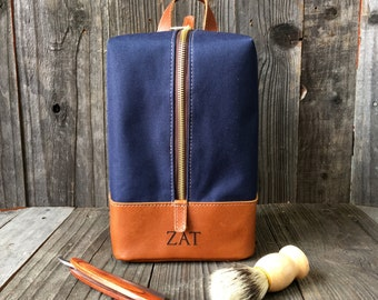 Hanging Toiletry Bag - Mens Dopp Kit - Personalized Dopp Kit - Navy & Tan