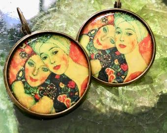 Wearable Art, Art Earrings, Art Jewelry, Art Nouveau, Art Nouveau Earring, Art Nouveau Jewelry, Klimt Art, Klimt Jewelry, Klimt Jewellery