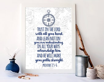 Trust in the Lord, With all your heart, Nautical Bible Verse Art Print, Nautical Home Decor, Christian Wall Art, Baby Nursery Art, A-1300