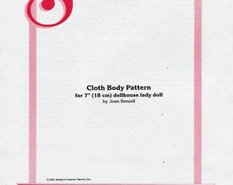 "Free usa Ship Seely's Dollmakers Pattern 7"" Cloth Body for Lady Doll Dollhouse Size 1991 New Out of Print Old Store Stock Sewing Pattern"