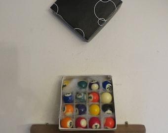 "Vintage Pool / Billiard Balls, Complete Set, Miniature Pool Balls 1"" diameter w/ free ship"