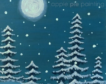 Winter Trees In-Home Painting Kit with Instructional Video, Canvas, Paints, Brushes and more!