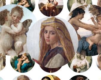 Bouguereau digital collage sheet - 1 inch circle - Angels - Religious - bottlecap - Fine Art - Instant Download