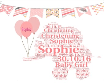 Personalised Baby Girl Baby Elephant Word Art Picture Print Christening Baptism Nursery New Born