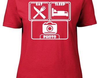 Eat. Sleep. Photo. Ladies semi-fitted t-shirt.