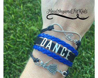 Dance bracelet charm love infinity, dancer charm, black, royal blue, silver charms, wrap bracelet, dance team, drill, company, high school