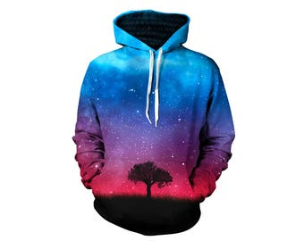 Trippy Space Pullover Hoodie - Psychedelic Forest Jumper - Printed Artwork Hoody - Gifts for Him or Her