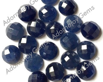 Gemstone Cabochon Sapphire 5mm Checkerboard Blue FOR ONE