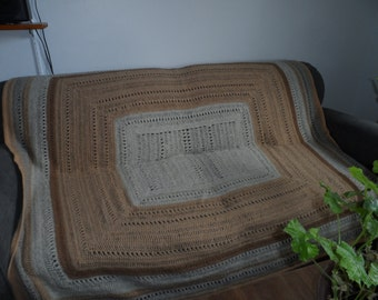 sofa cover woollen blanket in shades of beige with unique crochet stitching