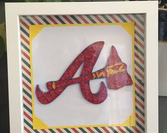 Atlanta Braves 8x8 Paper Quilled Picture