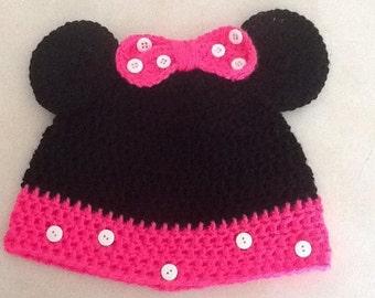 Crocheted Minnie Mouse Beanie