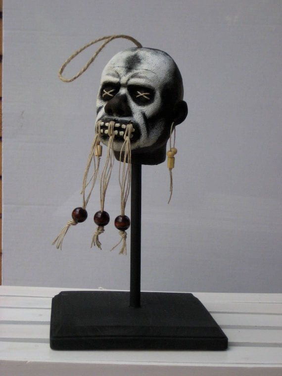 Shrunken Head Voodoo Witch Doctor Replica