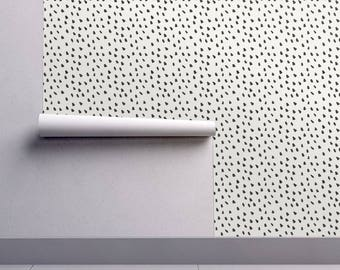 Spots Wallpaper - Black Painted Dots On Cream By Weegallery - Modern Custom Printed Removable Self Adhesive Wallpaper Roll by Spoonflower