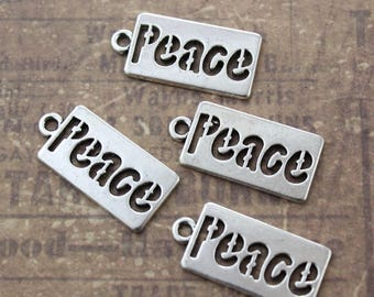 10 Peace Charms Peace Pendants Antiqued Silver Tone 20 x 10 mm