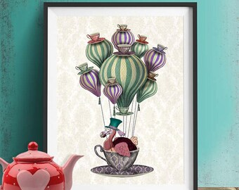 Alice In Wonderland Print Dodo Bird Print Hot Air Balloon