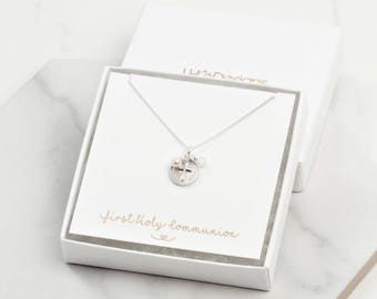 First Holy communion gift, Sterling silver cross necklace,  holy communion jewelry, christening gift for girl, childrens jewellery,