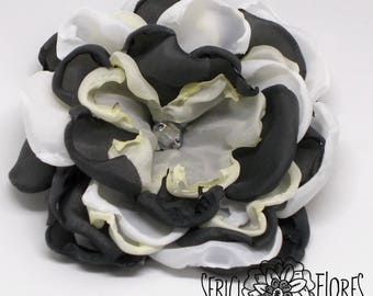 Steel and Snow fabric flower brooch / tribal fusion headdress / cut singed layered fabric flower pin / ballerina fake flower