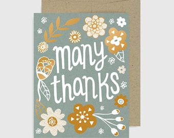 Thank You Card - Many Thanks Gold Floral